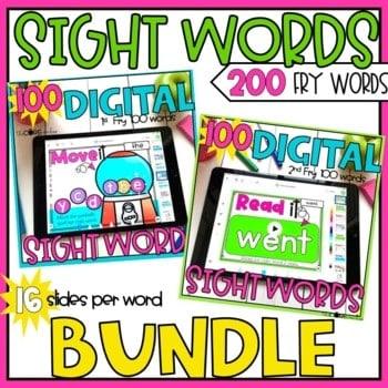 Digital Sight Words Fry's 1-200 Bundle