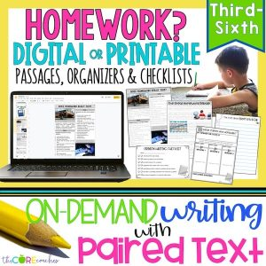 Homework - Print Or Digital Paired Text Passages & Opinion Writing