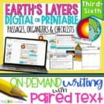 Earth's Layers - Print Or Digital Paired Text Passages & Writing