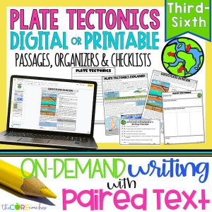 Plate Tectonics - Print Or Digital Paired Text Passages & Writing