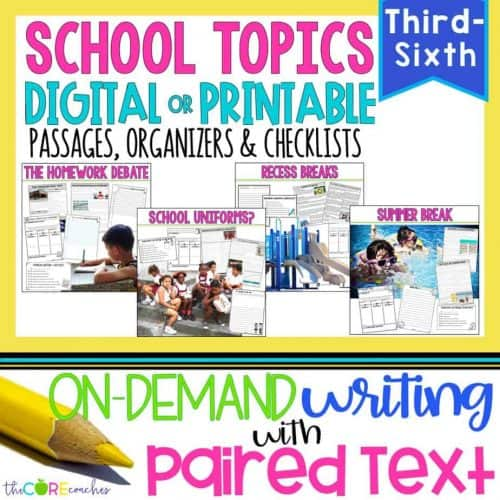 School Topics Paired Text Passages & Writing Bundle
