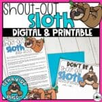 Shout Out Sloth - Classroom Behavior Buddy Series
